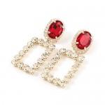 Glass Gem Embellished Hollow Graceful Rectangle Shoulder-duster Banquet Fashion Earrings - Golden
