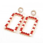 Rhinestone and Pearl Embellished Large Rectangle Women Wholesale Fashion Earrings - Red
