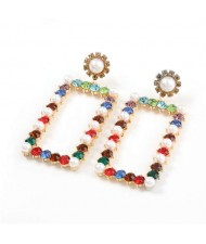 Rhinestone and Pearl Embellished Large Rectangle Women Wholesale Fashion Earrings - Multicolor