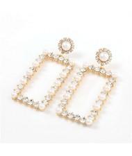 Rhinestone and Pearl Embellished Large Rectangle Women Wholesale Fashion Earrings - Golden