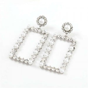 Rhinestone and Pearl Embellished Large Rectangle Women Wholesale Fashion Earrings - Silver