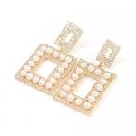 Pearl Inlaid Rhinestone Square Fashion Women Wholesale Costume Earrings - Golden