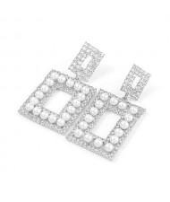 Pearl Inlaid Rhinestone Square Fashion Women Wholesale Costume Earrings - Silver