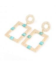 Rhinestone and Resin Gem Embellished Rectangle Korean Fashion Women Costume Earrings - Blue