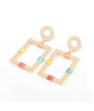 Rhinestone and Resin Gem Embellished Rectangle Korean Fashion Women Costume Earrings - Multicolor