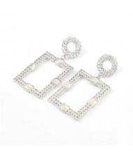 Rhinestone and Resin Gem Embellished Rectangle Korean Fashion Women Costume Earrings - Silver