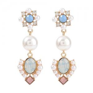 Pearl Fashion Vintage Flowers Design Western Style Wholesale Women Earrings