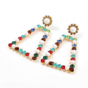 Pearl and Rhinestone Embellished Vintage Trapezoid Women Hollow Wholesale Earrings - Multicolor