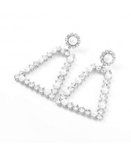 Pearl and Rhinestone Embellished Vintage Trapezoid Women Hollow Wholesale Earrings - Silver