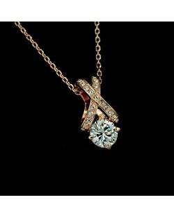 Perfect Design Austrian Crystal 18K Rose Gold Pendant Necklace