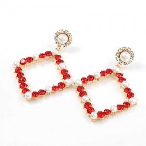 Pearl Inlaid Hollow Rhinestone Rhombus U.S. High Fashion Women Wholesale Earrings - Red