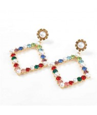 Pearl Inlaid Hollow Rhinestone Rhombus U.S. High Fashion Women Wholesale Earrings - Multicolor