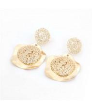 Rhinestone Embellished Irregular Shape Design Vintage Style Alloy Women Wholesale Costume Earrings - Golden