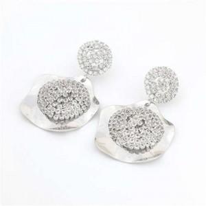 Rhinestone Embellished Irregular Shape Design Vintage Style Alloy Women Wholesale Costume Earrings - Silver