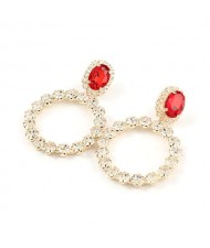 Super Shining Fashion Rhinestone Ring Design Women Wholesale Earrings - Golden
