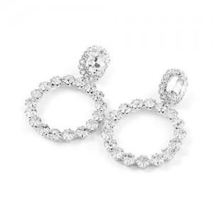 Super Shining Fashion Rhinestone Ring Design Women Wholesale Earrings - Silver
