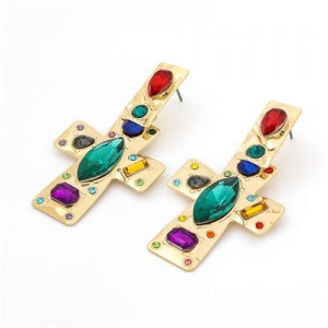 Colorful Assorted Gems Embellished Golden Bold Style Cross Design Women Wholesale Fashion Earrings