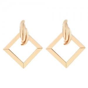Romantic Design Hollow Square Design U.S. High Fashion Alloy Women Earrings - Golden