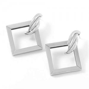 Romantic Design Hollow Square Design U.S. High Fashion Alloy Women Earrings - Silver