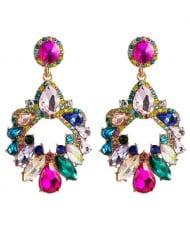 Colorful Rhinestone Embellished Hollow Waterdrop Design Women Wholesale Stud Earrings