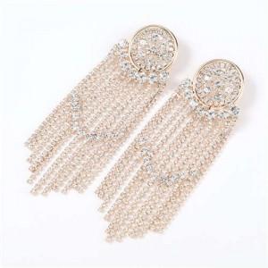 Glistening Rhinestone Banquet Fashion Women Tassel Wholesale Earrings - Golden