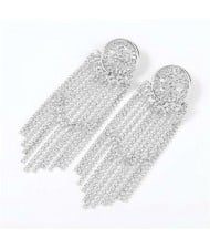 Glistening Rhinestone Banquet Fashion Women Tassel Wholesale Earrings - Silver
