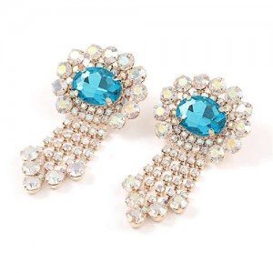 Gem Centered Floral Style Women Rhinestone Tassel Wholesale Earrings - Golden