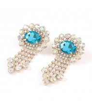 Gem Centered Floral Style Women Rhinestone Tassel Wholesale Earrings - Golden