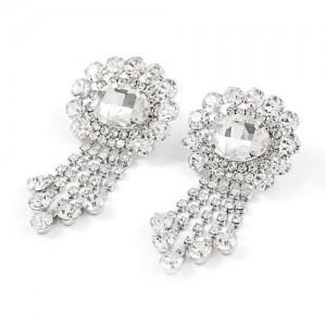 Gem Centered Floral Style Women Rhinestone Tassel Wholesale Earrings - Silver