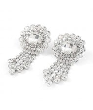 Gem Centered Floral Style Women Rhinestone Tassel Wholesale Earrings - Silver