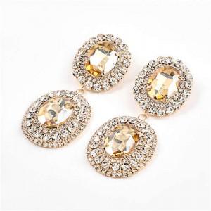 Super Shining Banquet Fashion Dual Ovals Design Women Wholesale Costume Earrings - Golden