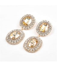 Super Shining Banquet Fashion Dual Ovals Design Women Wholesale Costume Earrings - Golden