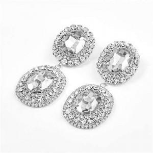 Super Shining Banquet Fashion Dual Ovals Design Women Wholesale Costume Earrings - Silver