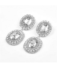 Super Shining Banquet Fashion Dual Ovals Design Women Wholesale Costume Earrings - Silver