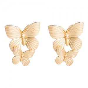 Dual Golden Butterflies Vintage Fashion Women Wholesale Costume Earrings