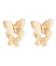 Dual Golden Butterflies Vintage Fashion Women Wholesale Costume Earrings