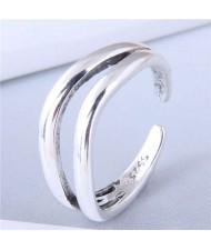 Vintage Style Dual Layers Open-end Design Fashion Copper Ring