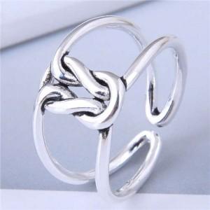 Twist Pattern Design Hollow Fashion Vintage Copper Ring