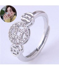 Vintage Fashion Chinese Ancient Coin Design Women Copper Ring - Silver
