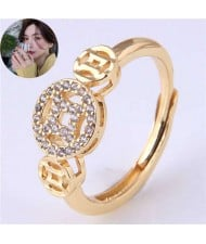 Vintage Fashion Chinese Ancient Coin Design Women Copper Ring - Golden