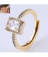 Cubic Zirconia Embellished Four Claws Korean Fashion Women Ring - Golden