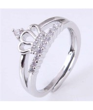 Cubic Zirconia Embellished Crown Design Korean Fashion Women Wholesale Ring - Silver