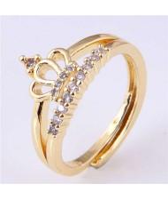 Cubic Zirconia Embellished Crown Design Korean Fashion Women Wholesale Ring - Golden