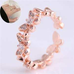 Cubic Zirconia Inlaid Butterfly Theme Copper Ring - Rose Gold