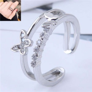 Romantic Butterflies Decorated Dual Layers Korean Fashion Wholesale Ring