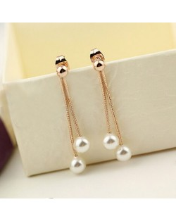 Elegant Twin Pearls Dangling Earrings