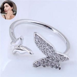 Cubic Zirconia Butterflies High Fashion Open Ring - Silver
