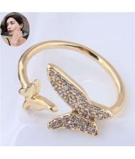 Cubic Zirconia Butterflies High Fashion Open Ring - Golden