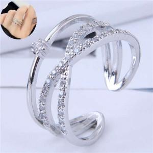 Cubic Zirconia Delicate Style Korean Fashion Women Ring - Silver