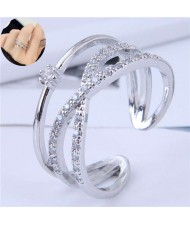 Cubic Zirconia Delicate Style Korean Fashion Women Ring - Silver